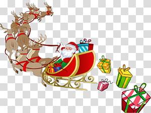 Santa Claus Rudolph Reindeer Sled, Sleigh HD png