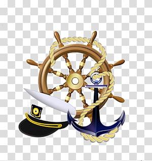 roda kemudi kapal, pelaut dan ilustrasi jangkar, Logo pelaut Jangkar Sailor Ships, Rudder dan jangkar topi png