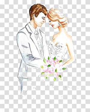 ilustrasi pengantin, Sketsa Penunangan Gambar Pernikahan, Pasangan yang sudah menikah PNG clipart