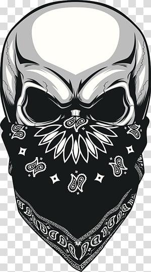 tengkorak mengenakan bandana paisley hitam dan putih, ilustrasi Kerchief Skull, Skulled masked png
