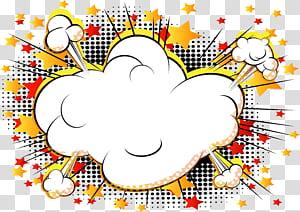 Komik Kartun Ledakan Buku komik, ledakan komik awan, ilustrasi digital awan putih png