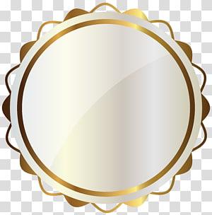 ilustrasi medali putih dan kuning,, Segel Putih dengan Dekorasi Emas PNG clipart