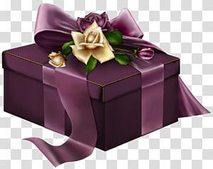 kotak hadiah ungu dengan pita dan bunga, hadiah Natal Ungu, Ungu 3D Hadir dengan Mawar png