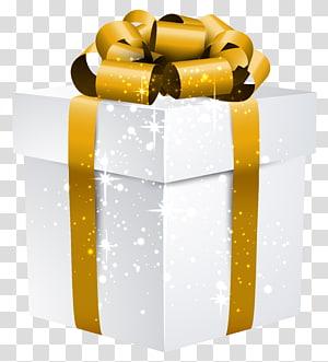 kotak hadiah putih dan emas, Kotak Hadiah Emas, Kotak Hadiah Cemerlang Putih dengan Busur Emas png
