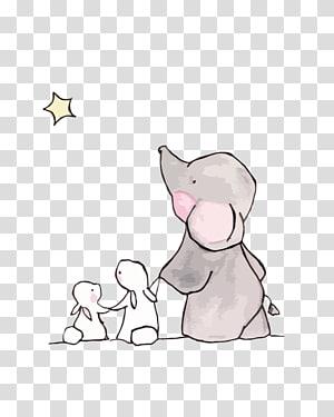 Menggambar Kelinci Kelinci Anak, gajah dan kelinci yang lucu, gajah dan kelinci png
