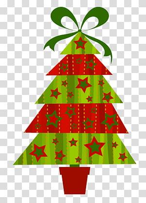 ilustrasi pohon Natal merah dan hijau, hiasan pohon Natal, Pohon Natal Modern PNG clipart