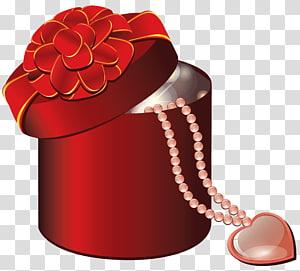 ilustrasi kotak hadiah merah, Hadiah Hari Valentine Hati, Valentine Kotak Hadiah Bulat Merah dengan Hati png