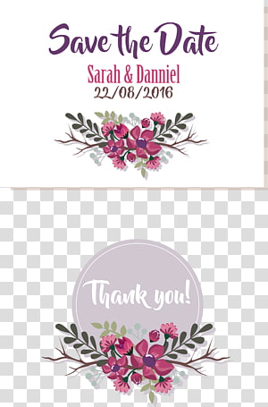 Undangan pernikahan Simpan tanggal, undangan pernikahan ungu, Simpan Tanggal Sarah & Danniel teks png