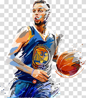Steffen Curry painting, Stephen Curry Golden State Warriors Painting Basketball Jersey, pemain bola basket png