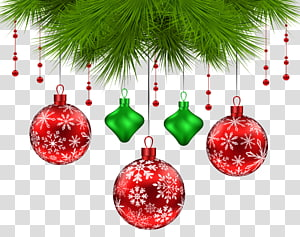 ilustrasi pernak-pernik merah dan hijau, pohon Natal, Dekorasi Pinus Natal png