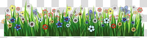 Flower, Grass Ground with Flowers, aneka warna bunga pada ilustrasi lapangan png