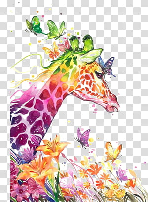 Lukisan cat air, Seni rupa cetak kanvas, Jerapah cat air, Warna-warni jerapah dan lukisan kupu-kupu PNG clipart