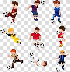 anak laki-laki bermain ilustrasi bola, Football Illustration, Kartun anak laki-laki bermain sepak bola PNG clipart