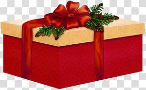 kotak hadiah merah dan putih, hadiah Natal, Hadiah Merah dan Krim Besar dengan Red Bow png
