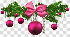 perbatasan bertema natal merah muda dan hijau, Pink Christmas Balls Decoration png
