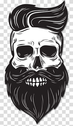 Beard Drawing Skull, Beard, skull with beard and hair sticker PNG clipart