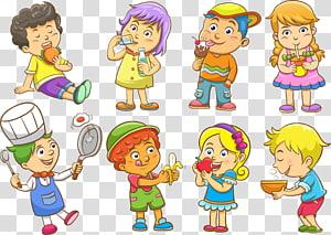 delapan anak memiliki kegiatan, Ilustrasi Euclidean Anak, Anak-anak saat makan malam png