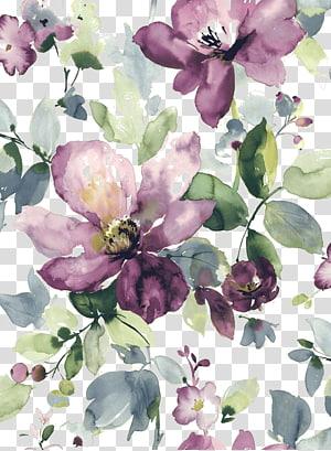 Lukisan Cat Air Bunga Cat Air Desain bunga, Cat Air dicat bunga ungu bermekaran png