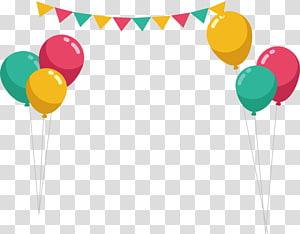 ilustrasi balon berbagai macam warna, Balon Pesta Ulang Tahun, bingkai balok balon warna png