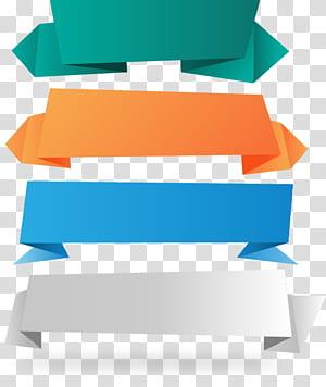Pita Spanduk Kertas, 4 bahan spanduk pita kertas, empat pita berbagai macam warna png