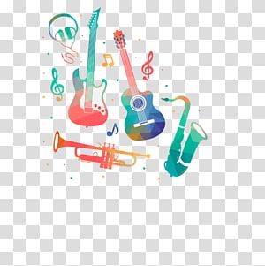 dua gitar dan ilustrasi terompet, lukisan Cat Air Musisi Alat musik, Alat Musik png