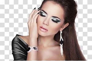 wanita di bagian atas hitam, ekstensi bulu mata Model Wajah Kosmetik, Model Rias PNG clipart