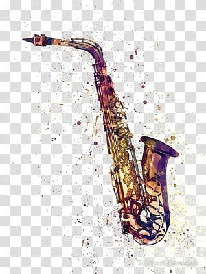 karya seni saxophone berwarna kuningan, Poster Cetak Kanvas Saxophone, saxophone Cat Air png