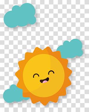 animasi matahari, File komputer Euclidean Adobe Illustrator, Kartun tersenyum matahari PNG clipart