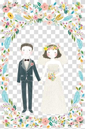 ilustrasi animasi pasangan yang baru menikah, Ilustrasi Pernikahan, Ilustrasi Pernikahan PNG clipart