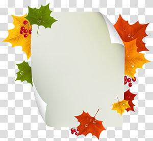 ilustrasi berbagai macam warna daun, Autumn, Autumn Blank Page Decor PNG clipart