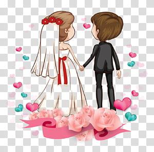 Love Romance couple Kartun Pernikahan, Pasangan kartun, cowok dan cewek di grafik pernikahan PNG clipart