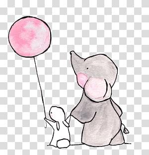 gajah berpegangan tangan dengan kelinci sambil memegang ilustrasi balon merah muda, Growtopia Anjialou Road Elephant Menyewa Airbnb, The Elephant and the White Rabbit png