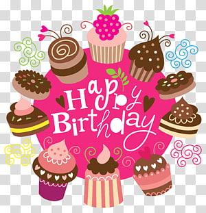 Grafis kue ulang tahun, Selamat Ulang Tahun dengan Kue, ilustrasi cupcake Selamat Ulang Tahun png