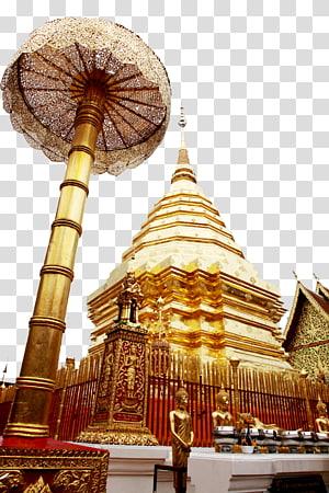 struktur runcing emas dengan kubah, kuil Buddha Wat Phra That Doi Suthep, Kuil Thailand Ssangyong png