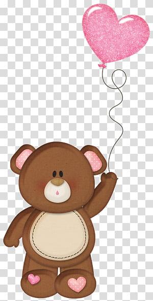 Kue Ulang Tahun Wish Boyfriend Kartu ucapan, Brown Teddy dengan Pink Heart Balloon, ilustrasi beruang coklat memegang balon jantung png