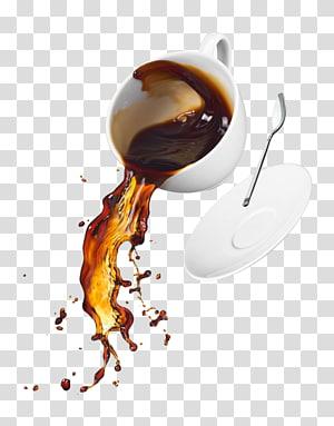 kopi di dalam cangkir teh di samping sendok teh dan gambar piring, cangkir Kopi Teh cangkir Kopi, kopi tumpah png
