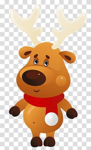 ilustrasi rusa, Rudolph Christmas Santa Claus, Rusa Natal Lucu dengan Syal Merah png