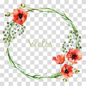 Flower Circle, perbatasan pola lingkaran, ilustrasi karangan bunga dengan overlay teks png