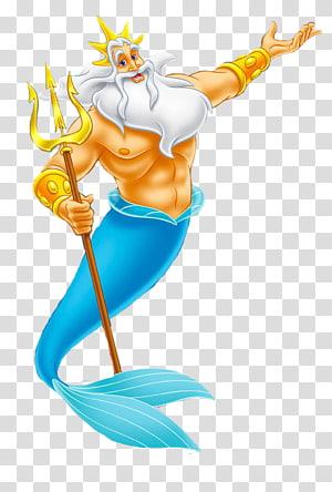 merman memegang ilustrasi staf, Ariel King Triton Sebastian Queen Athena, ariel putri duyung kecil png