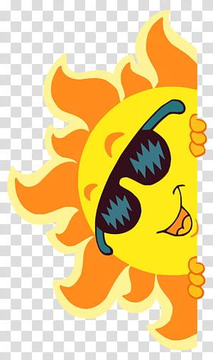 File Komputer Matahari, Smiling Sun Decoration, ilustrasi matahari oranye dan kuning PNG clipart
