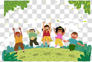 ilustrasi digital lima anak, Childrens Day Fathers Day, Happy children png