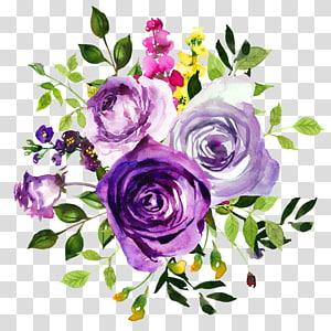 ilustrasi tiga bunga, lukisan Cat Air Bunga Ungu Violet, cat air mawar png