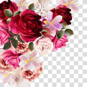 Flower bouquet Rose Drawing, Bunga indah bahan lukisan tanaman, berbagai macam warna bunga petaled png