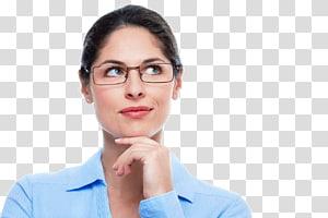 wanita mengenakan baju biru, Kacamata Perilaku manusia Bisnis Kecantikan Chin, wanita Berpikir PNG clipart