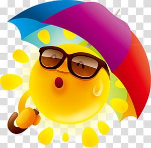 ilustrasi memegang emoji payung, Payung Kartun, bahan desain kartun matahari lucu PNG clipart
