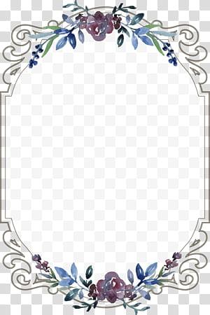 Templat Menu Undangan Pernikahan, Perbatasan floral vintage, bingkai floral kosong png