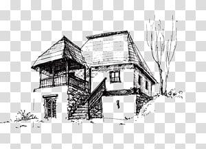 rumah ilustrasi, House Drawing Sketch, bangunan png