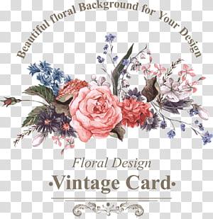 Burung Bunga Ilustrasi Euclidean, Bunga berwarna-warni, kartu vintage desain bunga png