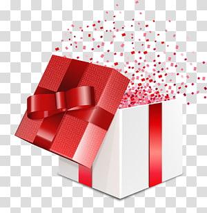 template kotak hadiah putih dan merah, Kotak kartu hadiah, kotak hadiah terbuka yang dicat png