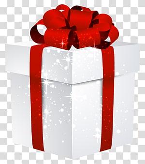kotak putih dengan ilustrasi pita merah, hadiah Natal hadiah Natal Santa Claus, White Gift Box Bersinar dengan Busur png